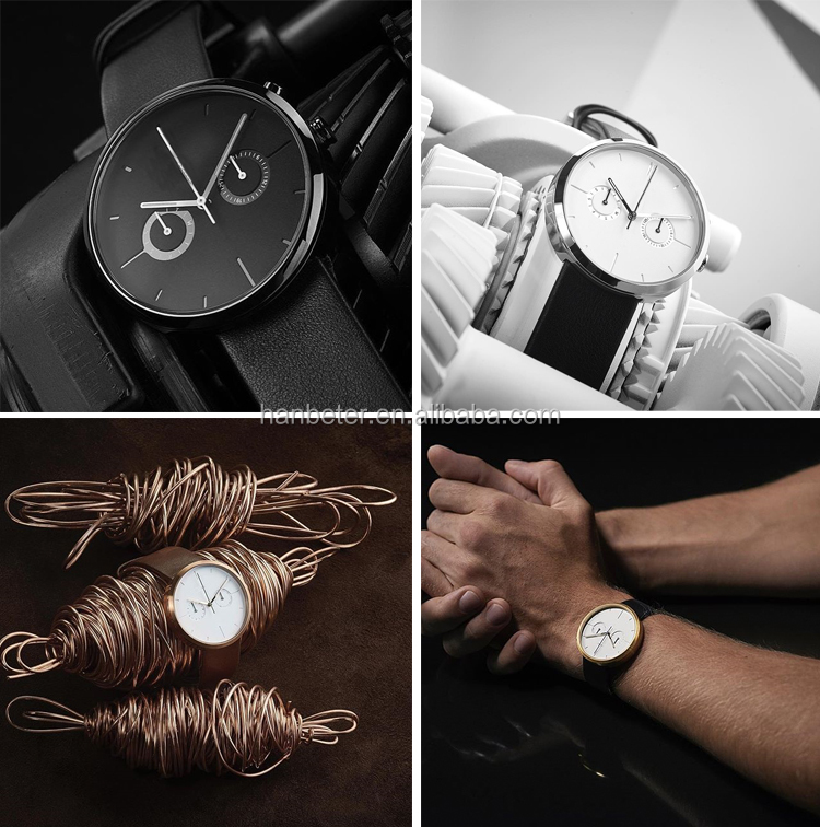 Minimalist OEM Wristwatch China Factory Casual Fashion Men's Chronograph Wrist Watch With Genuine Leather Strap