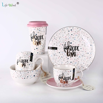 Wholesale restaurant use handmade China ceramic mug bowl cup saucer set white bulk round shaped porcelain dinner plates