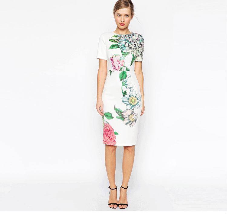 ee6fc35bef7 2015 nuevos Collar redondo de moda diseño vestido estampado de flores para  mujer carrera vestido