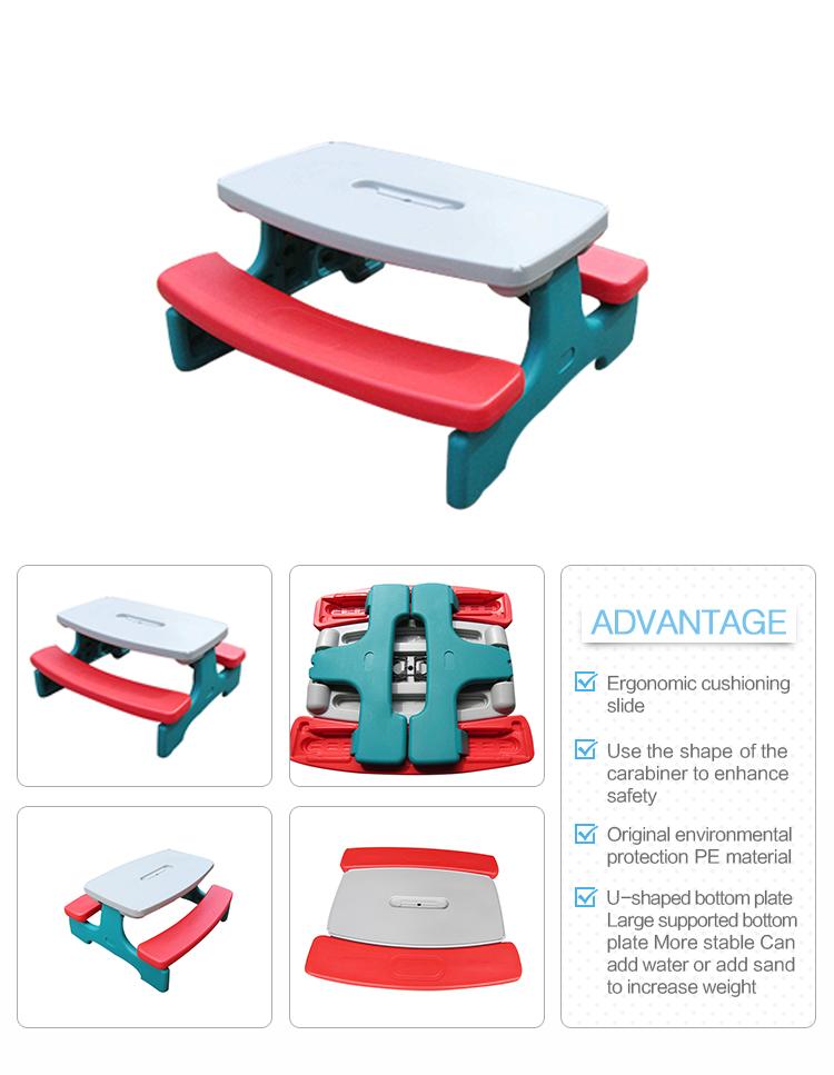 Mesa y silla plegable para exteriores de fácil almacenamiento mesa de picnic de plástico para niños al aire libre en el jardín para aprender a jugar