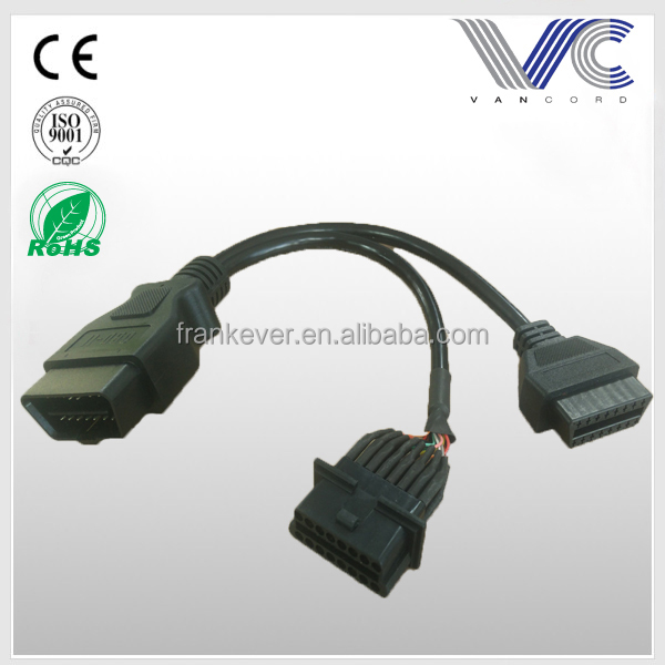 Customized OBD II Male to2 Female Y Cable Extension Cable