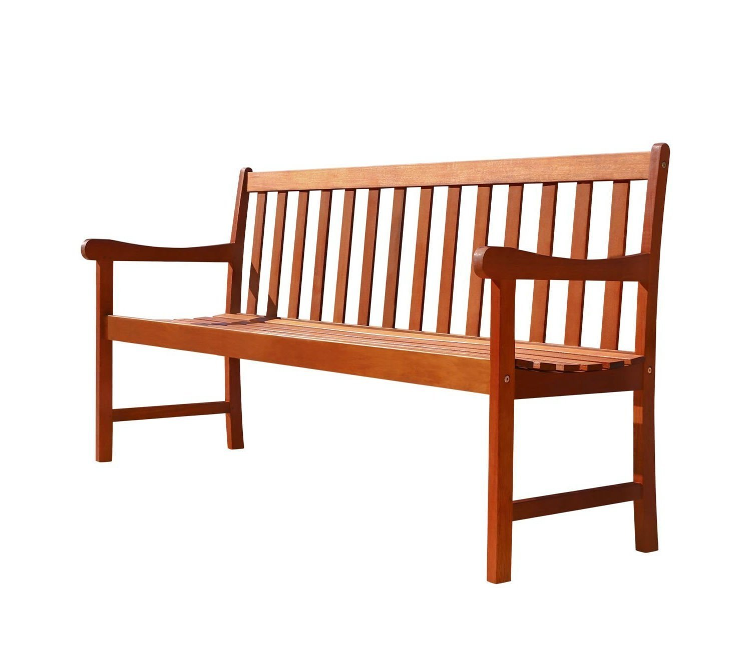 This Teak Outdoor Bench is 5 ft and a 2 seater, made from a Elegant Eucalyptus wood. Features a Rustic Look with Natural Finish. Perfect poolside, in garden, porch, yard, patio or outside living space