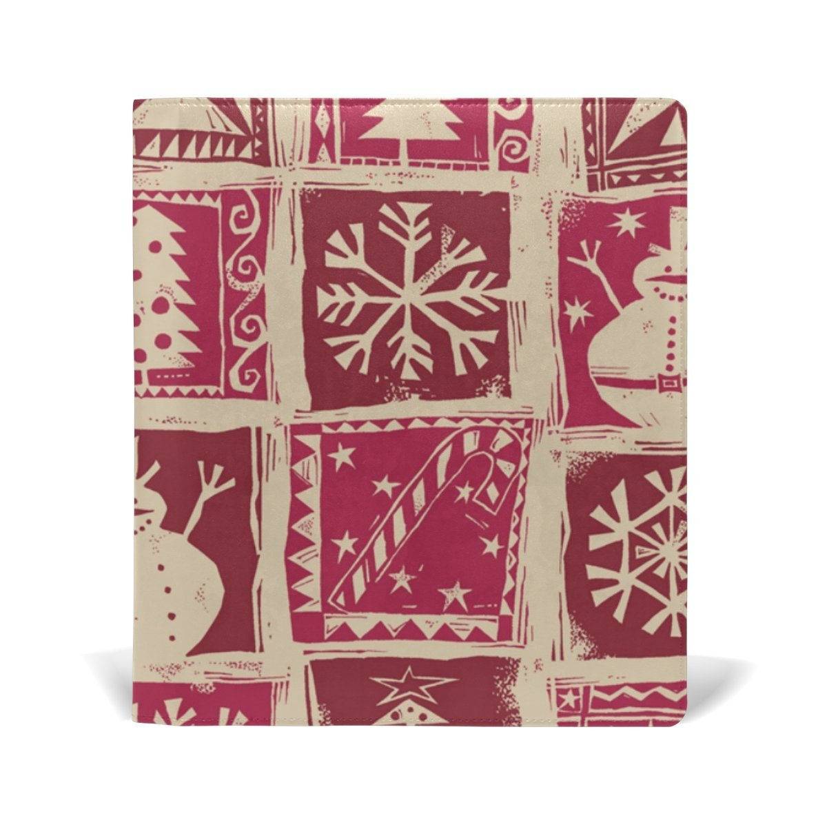 Sunlome Christmas Tree Snowman Snowflake Pattern Stretchable PU Leather Book Cover 9 x 11 Inches Fits for School Hardcover Textbooks
