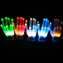 Rainbow color flashing led light magic gloves Party Supplies Promotion Gifts