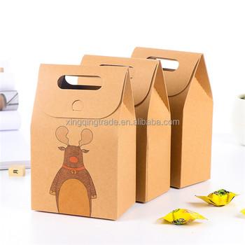 Christmas Craft Paper Box Handled Kraft Brown Paper Bag Santa Claus