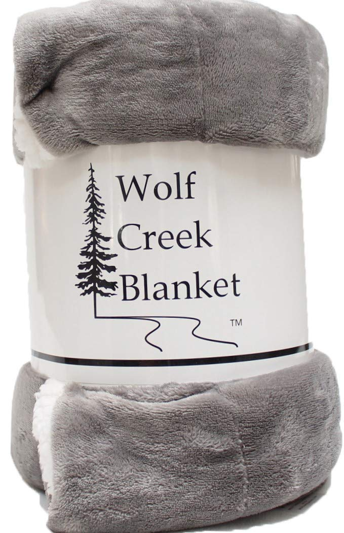 Sherpa Throw Blanket for Couch or Bed with Fleece Reverse by Wolf Creek Blanket | Amazingly Plush Soft Warm Cozy All Season Luxury Throw Blanket 50x60 Silver Gray