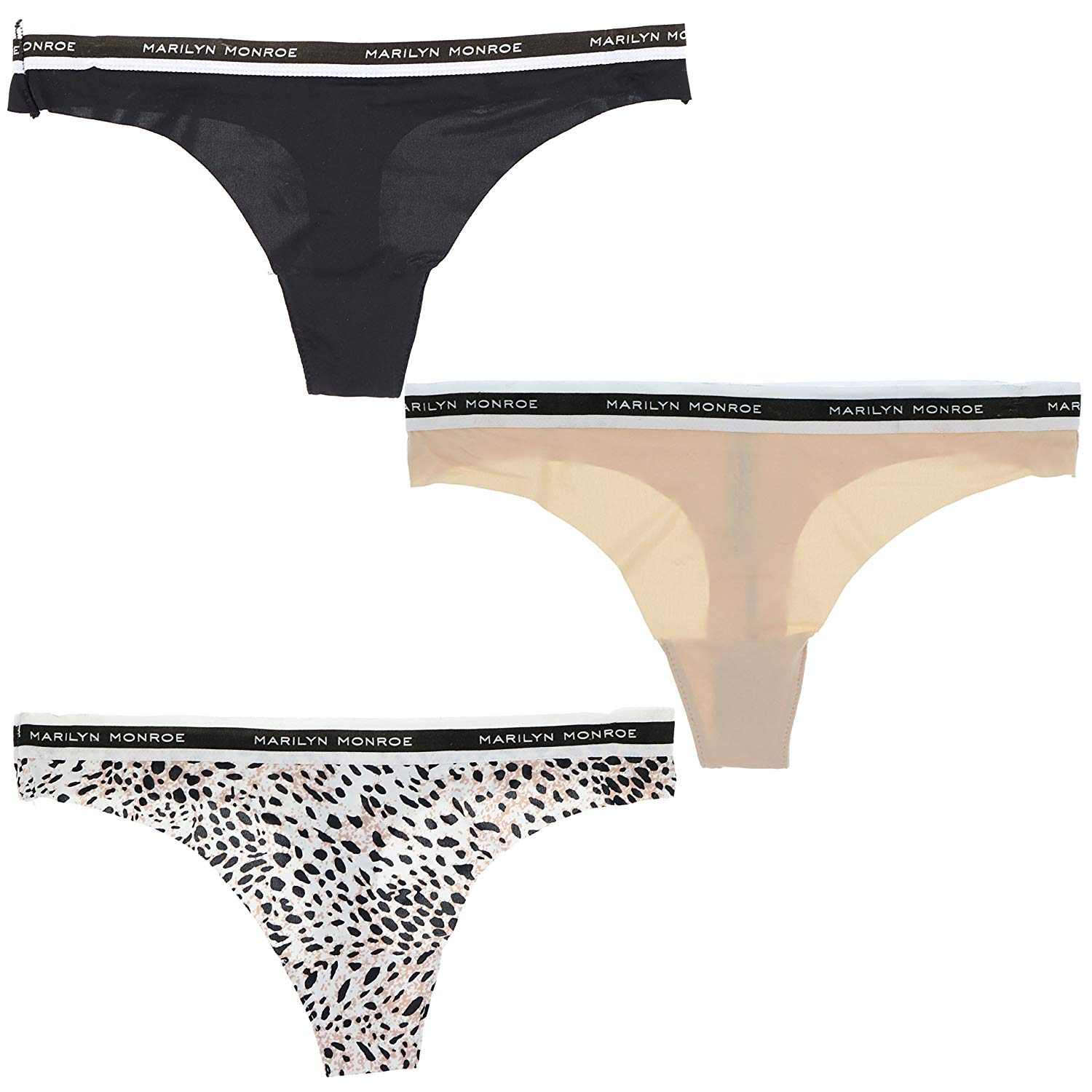 13f7aff9216d Get Quotations · Marilyn Monroe Intimates Womens Seamless Sporty Thong  Panties (3 Pr) (Small, Cheetah