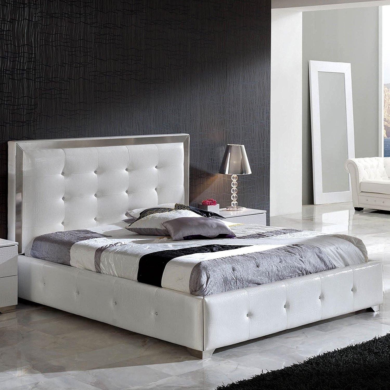 King Coco Platform Storage Bed | White Leatherette