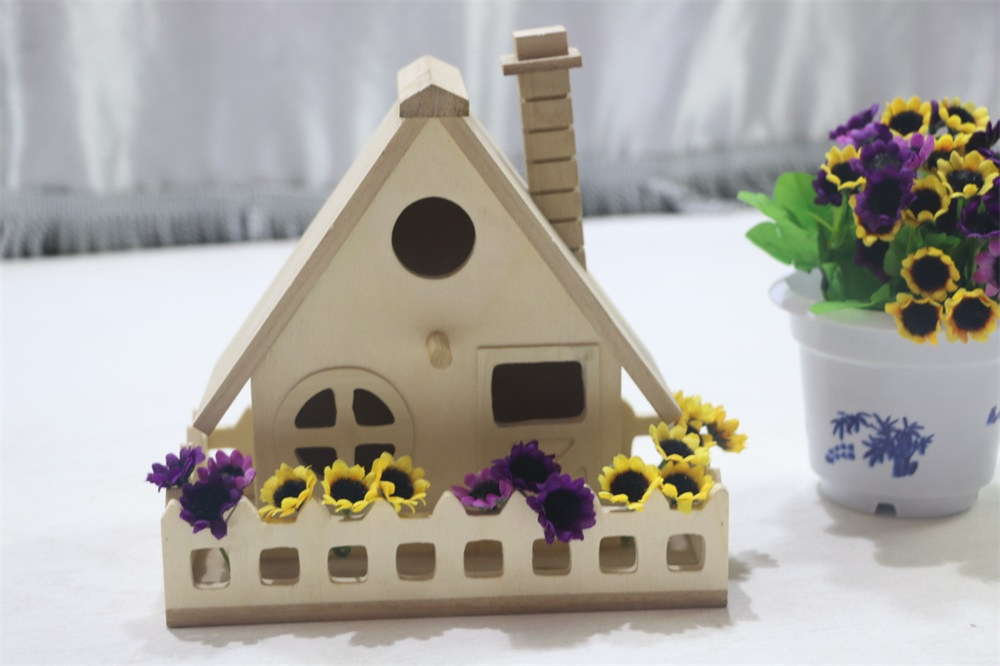 Customized size new unfinished wooden bird house wholesale