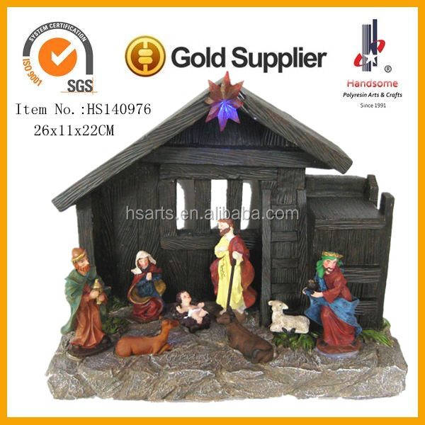 8 Inch Resin Craft Home Decoration Nativity Led Lights Christmas Village Houses