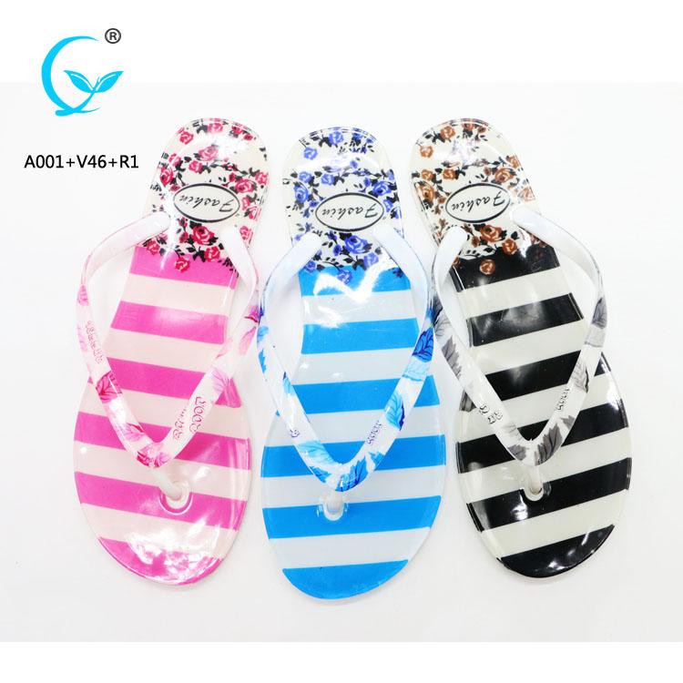Crystal promo 2016 latest ladies printed flat shoe flip flops in bangkok