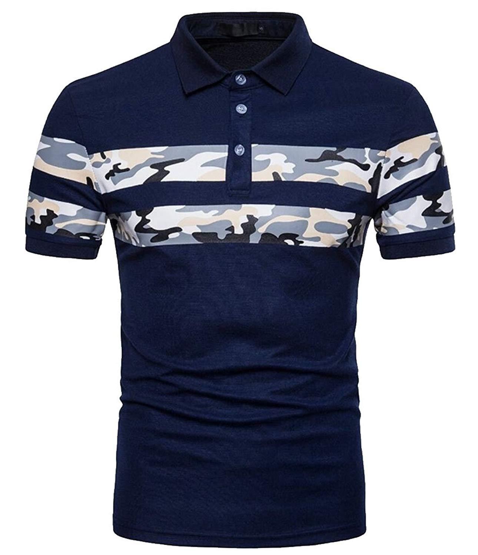 ouxiuli Men Top Camouflage Print Lapel Slim Fit Short Sleeve Polo Shirts