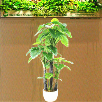 Indoor Artificial Large Foliage Green Leaf Tropical Plastic Plants