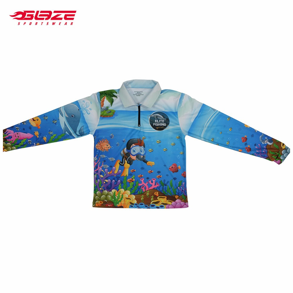 Blank children polyester outdoor long sleeve quick dry fishing shirts