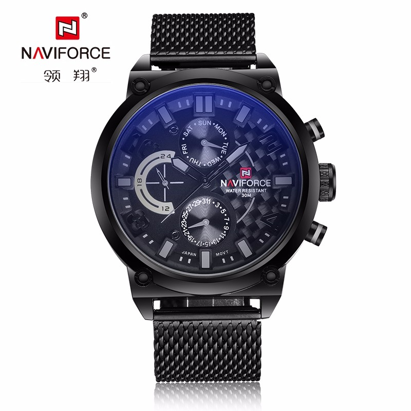 Naviforce Brand Multifunction Quartz Watch Men Casual Sport Watches Male Black Steel Mesh Strap Military Wrist Watch men clock