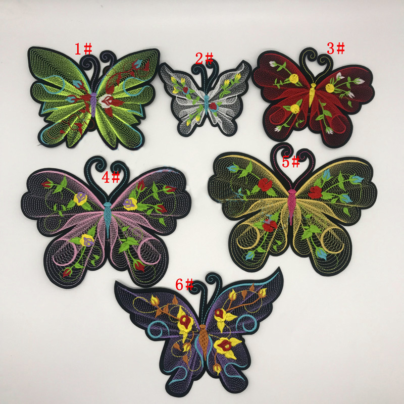 Wholesale custom fancy embroidery designs sew/iron on 3d butterfly patch appliques for garment and home textile
