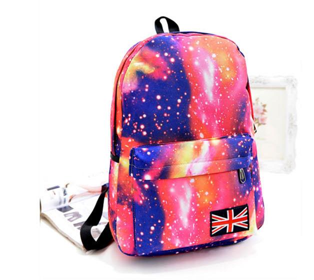 29b7fdc9259e Get Quotations · Fashion Women Girl Canvas Bag Galaxy Print Cosmic Space  Backpacks Schoolbag Travelling Backpack Mochila Feminina