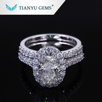 Customized 14k/18k white gold ring 6*9mm oval crushed ice cut moissanite engagement ring set