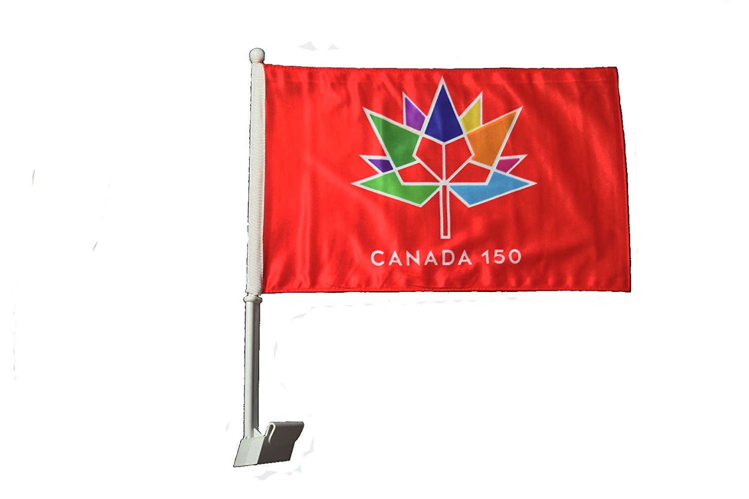 """CANADA 150 Year Anniversary 1867 - 2017 RED 12"""" x 18"""" Inch CAR Heavy Duty Flag With Stick .. Great Quality .. New"""
