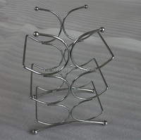 CHROME WINE RACK / METAL WINE RACK FOR 6 BOTTLES