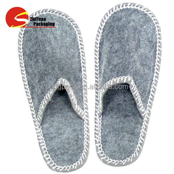 Home Guest Felt Slippers For Women Man Indoor Hotel Spa Disposable ...