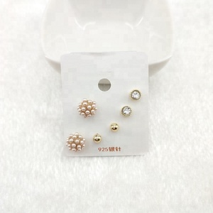 multiple earring sets ball white stone pearl small gold ear stud