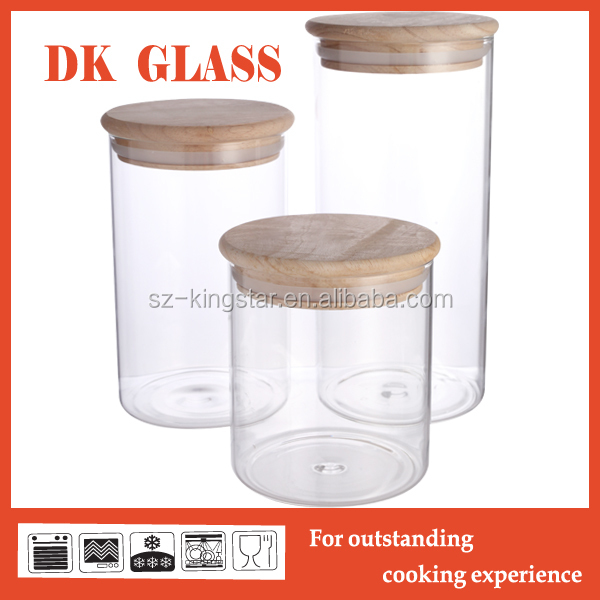 Vacuum transparent glass jar/ glass bottle with wooden lid