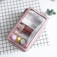 Carry on clear travel toiletry Bag PU transparent cosmetic Bag with zipper