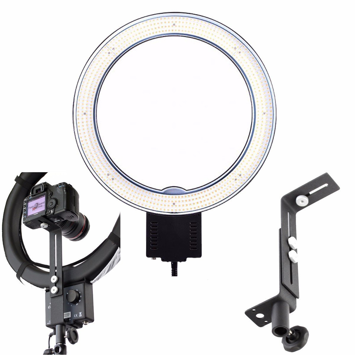 "EACHSHOT 19""Outer 14""Inner 220V 65W 5400K Photography Dimmbare Video LED Studio 640 LED Continuous Macro Ring Light 5600K Day Lighting + Z-Type Bracket for Camera"