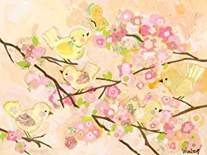 Oopsy Daisy Fine Art for Kids Cherry Blossom Birdies Butter Cream Stretched Canvas Art by Winborg Sisters, 24 by 18-Inch by Oopsy Daisy