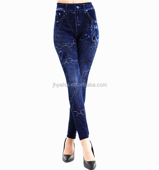 99702400e833e Womens Seamless Print Fashion Faux Jeans Legging - Buy Womens ...