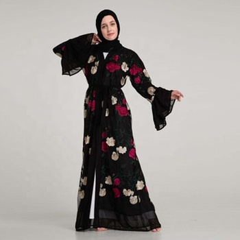 Middle East Flare Sleeve Embroidered Cardigan Dubai flare sleeve pink color abaya jordan saoudienne