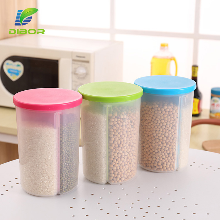 OEM food grade PP plastic cylinder 3 compartment rice bean grain container/cereal dispenser