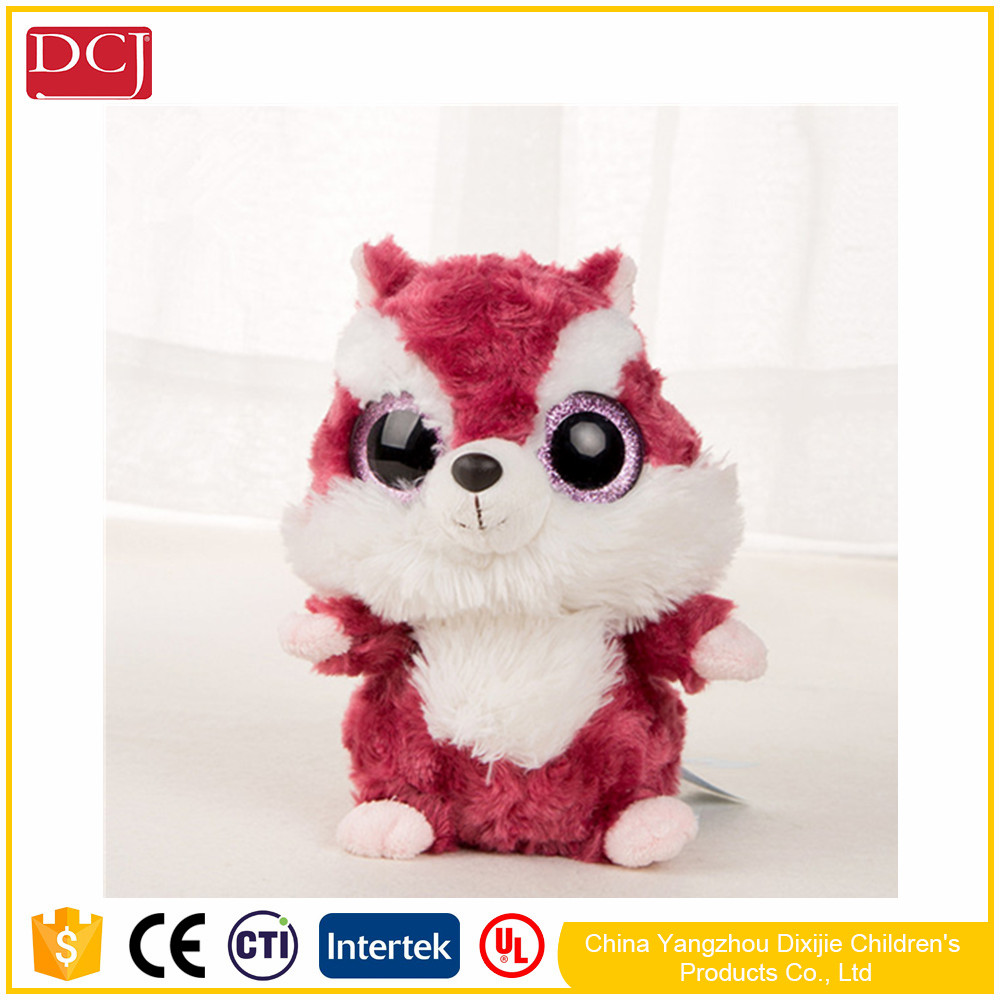 New Style 20cm stuffed squirrel toy plush red and white squirrel with big eyes doll