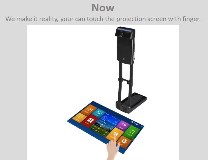โปรเจคเตอร์ขนาดเล็กสำหรับโทรศัพท์มือถือเปลี่ยนโต๊ะเป็นแผงสัมผัส