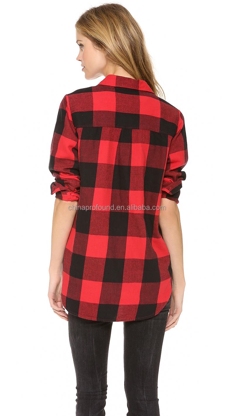 long sleeve plaid shirt for women fashion red and black plaid ...