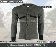 Man sweater army pullover 100% wool cardigan