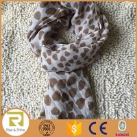 Wholesale 100% Polyester coffee dots printed fringed stole shawl scarf