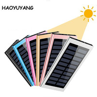 Portable 20000mah Dual Usb Solar Battery Charger Mobile Phone Charging Solar Panel Camping Power Bank