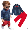 2017 western style boy clothing sets kids clothes with denim shirt and red pants
