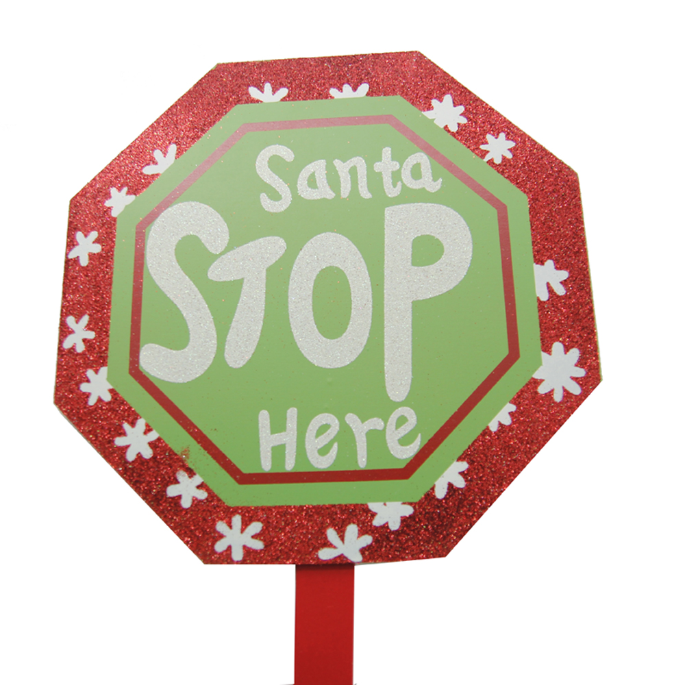 2019 Christmas Wooden Yard Sign Stakes Custom SANTA STOP HERE Garden Stick Sign Glitter Decoration
