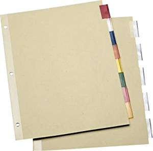 Staples Economy Insertable Dividers with Buff Paper, 8-Tab Multicolor, 6 Sets/Pk
