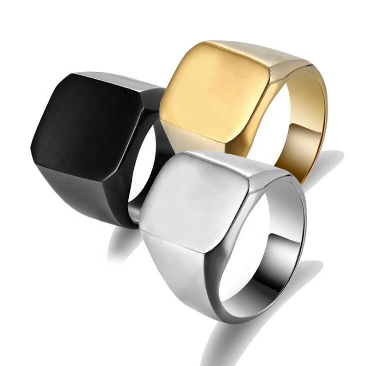 316L Edelstahl Glänzend Platz Finger Ring für Business Männer 3 Farben