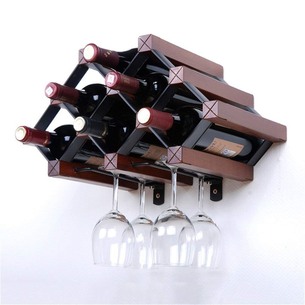 Wall Wine Rack Wooden Wall Mounted Wine Shelf Retro Wine Cabinet Design Hanging Wine Bottles Organiser, Can Holds 6 Bottles and 4 Glasses,Red Brown, L42.7 X H26 cm