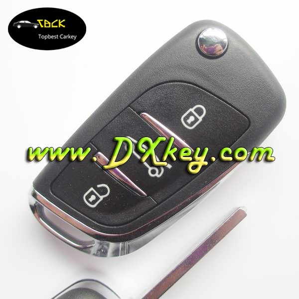 FSK 3 buttons car keys 433mhz 46 chip for citroen smart key car citroen c4 remote key