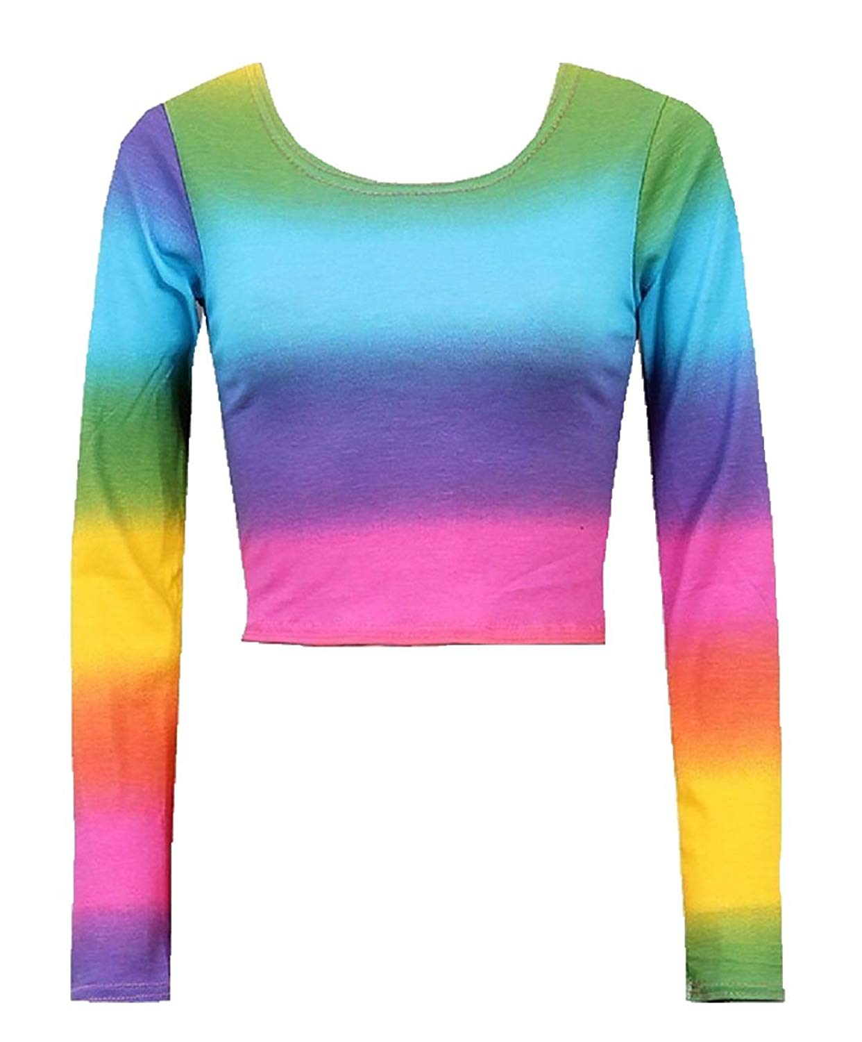 Rimi Hanger Womens Long Sleeve Rainbow Print Crop Top Ladies Multi Colour Round Neck Fancy Party Top S/L