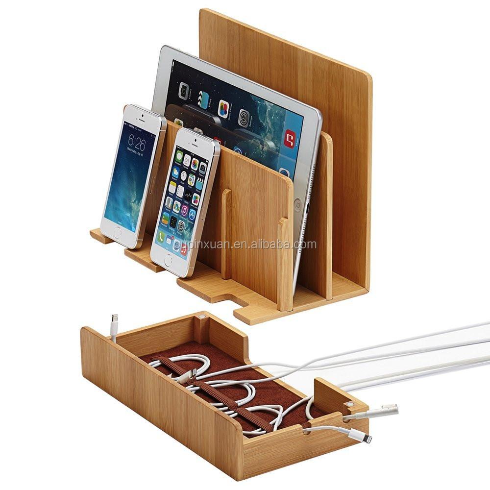 100 bois de bambou multi dispositif de station de recharge stand de t l phone et dock pour. Black Bedroom Furniture Sets. Home Design Ideas