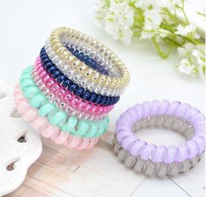 China Telephone Line Hair Ring Jelly Color Elastic Hair Band for Hair Beauty