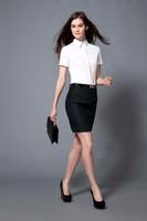 New Style Business Women Shirt Short Sleeve Fancy Formal Blouse