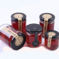 Transparent round shape 180ml 280ml honey jam jelly glass jar with metal lid